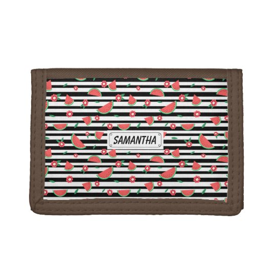 Watermelons and stripes tri-fold wallet