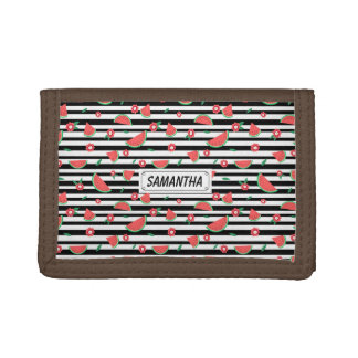 Watermelons and stripes tri-fold wallets