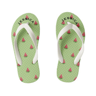 Watermelons Cute Kids Summer Name Lime Green Dots Kid's Thongs