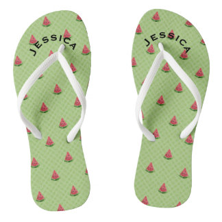 Watermelons Summer Personalized Lime Green Dots Thongs