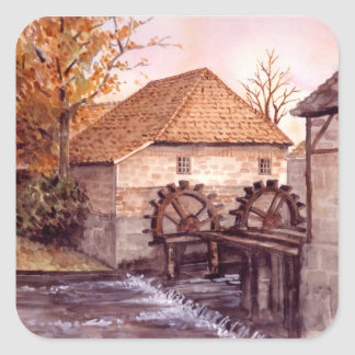 Watermill Watercolor Painting by Farida Greenfield Square Sticker