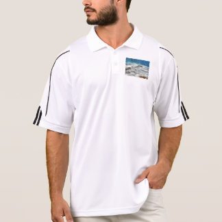 Waters furiously covering rocks polo t-shirts