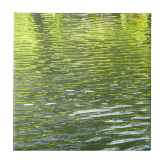 Waters of Oak Creek Yellow and Green Nature Photo Small Square Tile