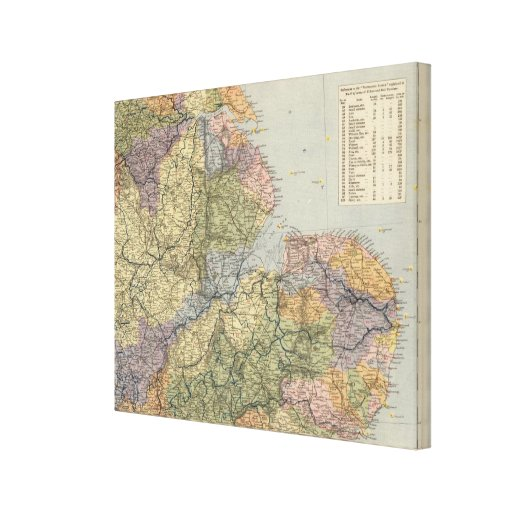 Watershed map England, Wales 4 Gallery Wrapped Canvas