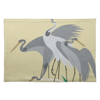 Waterside birds depicted in Japanese pattern Placemat
