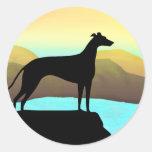 Waterside Greyhound Dog Landscape Round Sticker