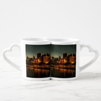 Waterside view of Melbourne at night Lovers Mug Sets