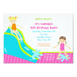 """Waterslide Water Party Birthday Invitations 5"""" X 7"""" Invitation Card"""