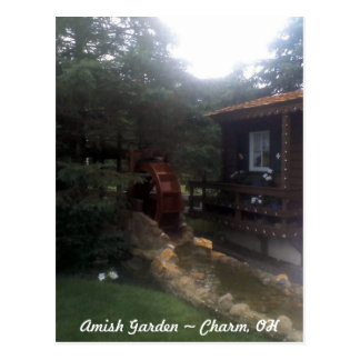 Waterwheel in an Amish Country Garden Post Card