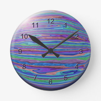 Watery Pastel Stripes Round Wall Clock