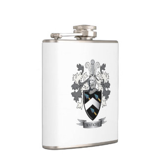 Watkins Family Crest Coat of Arms Hip Flask