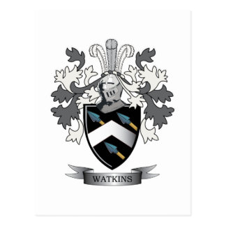 Watkins Family Crest Coat of Arms Postcard