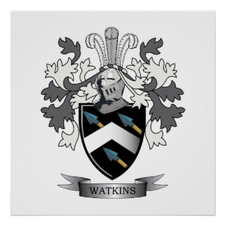 Watkins Family Crest Coat of Arms Poster