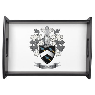 Watkins Family Crest Coat of Arms Serving Tray