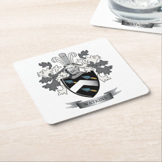 Watkins Family Crest Coat of Arms Square Paper Coaster
