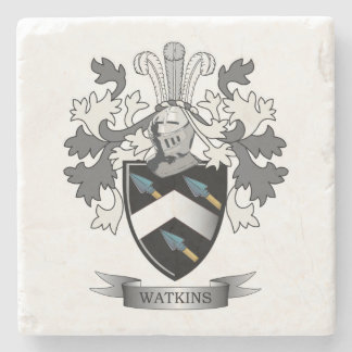Watkins Family Crest Coat of Arms Stone Coaster