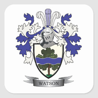 Watson Family Crest Coat of Arms Square Sticker