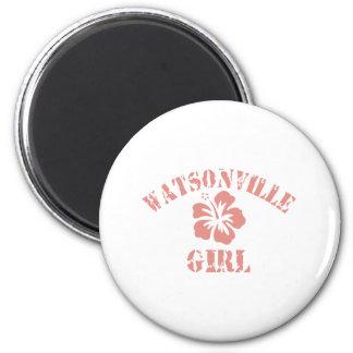 Watsonville Pink Girl 2 Inch Round Magnet
