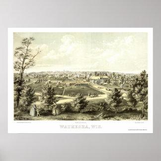 Waukesha, WI Panoramic Map - 1857 Poster