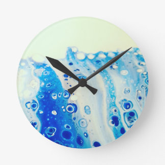 Wave And Bubbles Round Clock