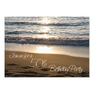 Wave at Sunset 50th Birthday Party Invitation Card