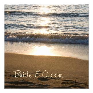 Wave at Sunset Wedding Invitation Cards