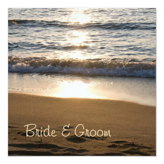 Wave at Sunset Wedding Invitation Cards