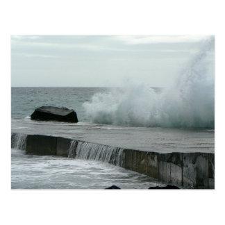 Wave Breaking On Pier Postcards