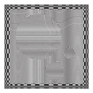 Wave Form Op Art and Spheres Poster