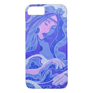 Wave, Mermaid, Fantasy Art Asian Girl, Blue & Pink iPhone 8/7 Case