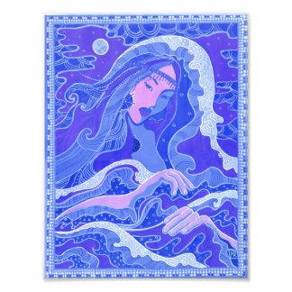 Wave, Mermaid, Fantasy Art Asian Girl, Blue & Pink Photo Print
