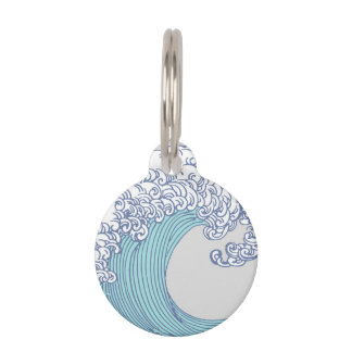Wave Ocean Surf Art Print Asian Japanese Pet ID Tag