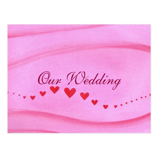 Wave of Red Hearts Wedding Invitation Postcards