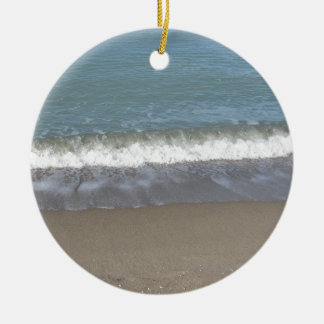 Wave of the sea on the sand beach ceramic ornament