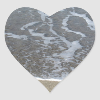 Wave of the sea on the sand beach heart sticker