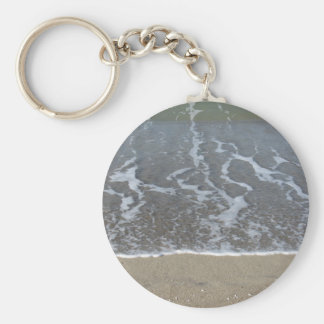 Wave of the sea on the sand beach key ring