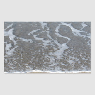 Wave of the sea on the sand beach rectangular sticker