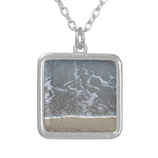 Wave of the sea on the sand beach silver plated necklace