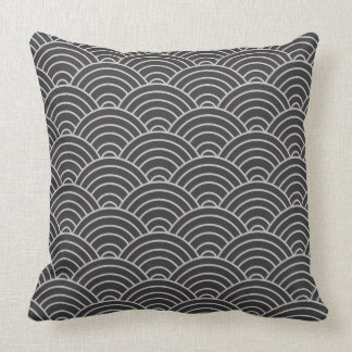 Wave Pattern Charcoal Gray Cushion