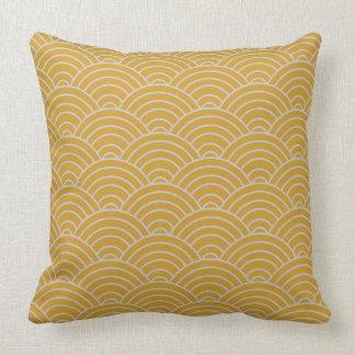 Wave Pattern Hot Mustard Cushion