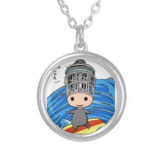 Wave riding king English story Shonan coast Silver Plated Necklace