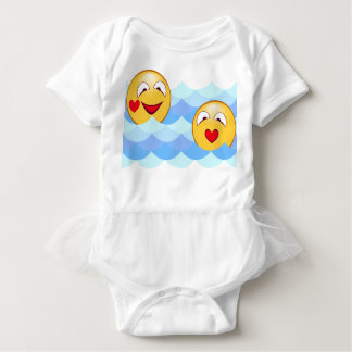 Wave smiley baby bodysuit