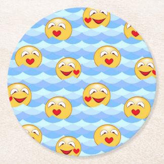 Wave smiley round paper coaster