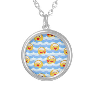 Wave smiley silver plated necklace