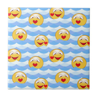 Wave smiley small square tile