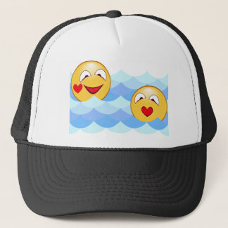 Wave smiley trucker hat