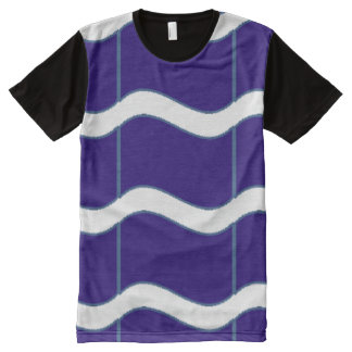 Wave stripes blue and white All-Over print T-Shirt