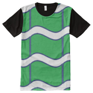 Wave stripes green and white All-Over print T-Shirt