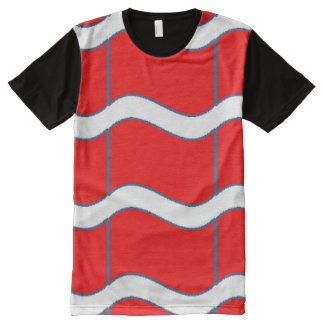 Wave stripes red and white All-Over print T-Shirt