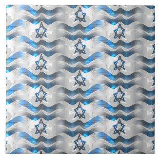 Wave Your Israeli Flag Large Square Tile